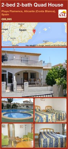 Quad House for Sale in Playa Flamenca, Alicante (Costa Blanca), Spain with 2 bedrooms, 2 bathrooms - A Spanish Life Alicante, Quad, Double Bedroom, Open Plan Living, Ground Floor, Dining Area, Terrace, Swimming Pools, Bathrooms