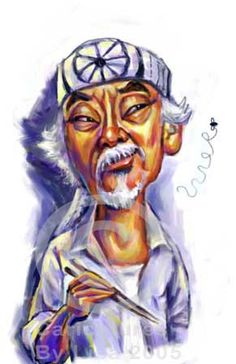 Pat Morita (caricature) Dunway Enterprises: http://dunway.com - http://masterpaintingnow.com/how-to-draw-everything?hop=dunway