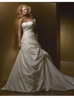 Taffeta Softly Curved Neckline Asymmetrical Ruched Bodice Mermaid Wedding Dress