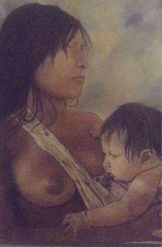 india e curumim,pintura de Edna Badu