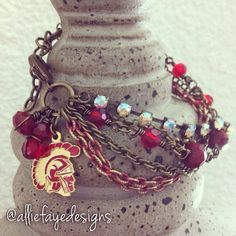 University of Southern California College multichain, rhinestones and crystals bracelet by alliefayedesigns