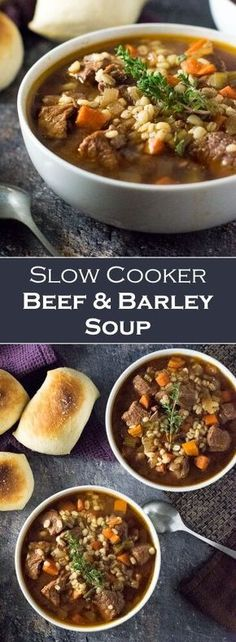 Health Slow Cooker Recipes, Beef Soup Recipes, Easy Chicken Recipes, Cooking Recipes, Barley Recipes, Slow Cooker Lasagna, Slow Cooker Freezer Meals, Slow Cooker Soup, Crockpot Beef Barley Soup