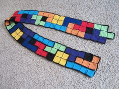 tetris scarf awesomeness (yes, I know it's a crocheted scarf, but these could just as easily be mitered knit squares!)