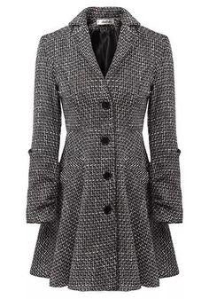 Grey Plaid Single Breasted Tweed Coat