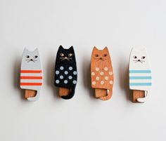 wooden #cat clothespin set