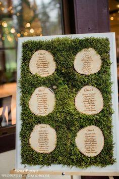 План рассадки гостей на лесной свадьбе. Гравировка на спилах