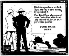 This 1917 ad stub is for local businesses to use to advertise Carter White Lead paint.