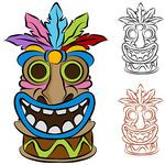 free totem pole patterns | Tiki Illustrations and Clipart. 276 Tiki royalty free illustrations ...