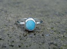 Mini Royston Turquoise Stacker Ring, Turquoise Ring, Genuine Turquoise, Turquoise Stacker, Sterling Silver, Mermaid Ring, Size 6