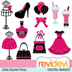 Starlet fashionista party in pink black.    These   digital images  are  great for any craft and creative     projects (specially for tween party)