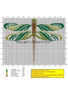 Libellule verte (Green Dragonfly), designed by Corinne Thulmeaux, Passion Broderie 77 blogger.
