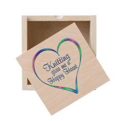 #Knitting Happy Heart Wooden Keepsake Box - #knitting #gifts