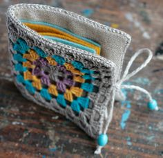 Small Linen Needle Book with Crochet detail  Granny by namolio, £16.00