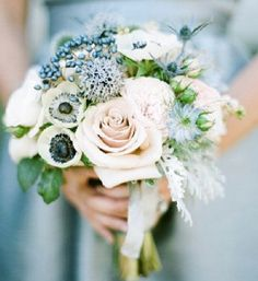 Blue flower wedding bouquet