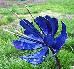 Blue steel garden stake Heather design ** Read more reviews of the product by visiting the link on the image.