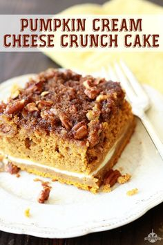 This Pumpkin Cream Cheese Crunch Cake is just about the perfect Fall recipe!