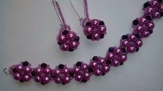 Комплект украшений из бисера, бусин и биконусов. МК. DIY. Tutorial: bead...