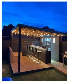 Outdoor Garden Bar, Outdoor Patio Bar, Backyard Bar, Backyard Seating, Backyard Patio Designs, Outdoor Kitchen Design, Outdoor Bar Areas, Backyard Shed Bar Ideas, Garden Ideas