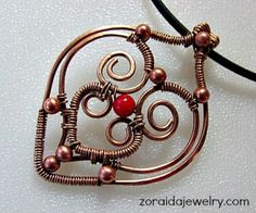 bronze heart with copper and corals beads