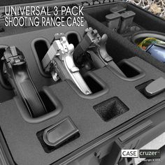 Universal Shooting Range Handgun Case – transports 3 handguns, 18 magazines and accessories, such as ammunition, shooting glasses, and earmuffs. #casecruzer http://www.casecruzer.com/gun-cases/shooting-range/qdsr-handgun-3pack.html
