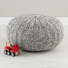 Kids Seating: Grey Variegated Pouf Seater | The Land of Nod