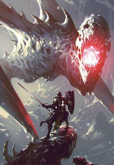 """Shadow Of The Colossus"": The Epic Fantasy Artworks By Ömer Tunç ˗ˏˋ 𝙵𝚘𝚕𝚕𝚘𝚠 : 4 : 𝙵𝚘𝚕𝚕𝚘𝚠 ˎˊ˗ . Dark Fantasy Art, Fantasy Concept Art, Fantasy Character Design, Fantasy Artwork, Character Art, Monster Art, Monster Concept Art, Fantasy Monster, Monster Design"