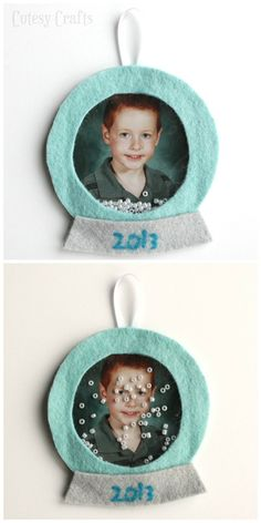 Felt Snow Globe Picture Ornament -  Shake it up and it snows!