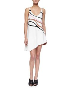 B2WNQ Narciso Rodriguez Wave-Embroidered Asymmetric Shift Dress