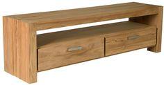 Teak houten geborstelde Novo 01 tvkast/tvdressoir/audiomeubel/plasmameubel/tvmeubel 2 laden en een open vak 55 x 150 x 47 - Uw landelijke woonwinkel voor teak uit Winsum (Groningen)