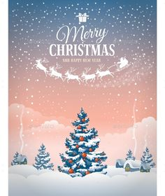 Buy Christmas Greeting Card by mari_pazhyna on GraphicRiver. Christmas greeting card with the village landscape and snowfall. Red And Gold Christmas Tree, Merry Christmas Images, Noel Christmas, Merry Christmas And Happy New Year, Christmas Design, Christmas Greeting Cards, Christmas Wishes, Christmas Pictures, Christmas Greetings