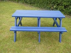 instead of having a patio set have a colorful picnic table