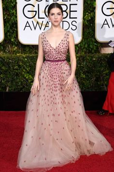 Anna Kendrick wears Monique Lhuillier at the 72nd Annual Golden Globe Awards