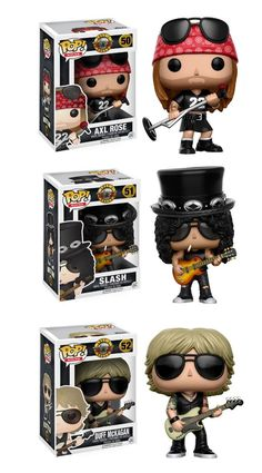 Funko will release Pop! vinyl figures of GUNS N' ROSES members Axl Rose, Slash and Duff McKagan in December. Mark Robben, the toy company's director of marketing, told Fuse about its über-succe. Pop Bobble Heads, Best Funko Pop, Funko Pop Dolls, Pop Figurine, Funk Pop, Duff Mckagan, Funko Figures, Pop Toys, Sonic And Shadow