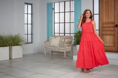 Shop Mud Pie's summer essentials now! PS: this dress comes in three colors! #mudpiegift #maxidresses #summerwardrobe Coral Maxi Dresses, Mud Pie, Ties, Clothes For Women, Shoulder, Mustard, Bow, Wedges, Vacation