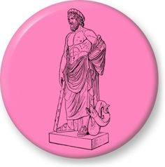 Vector image of greek god - Button Badge - Brooch - Gift