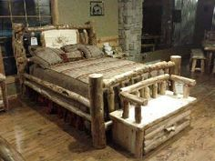 corral bed queen with partial inlay and lazer ingraved elk
