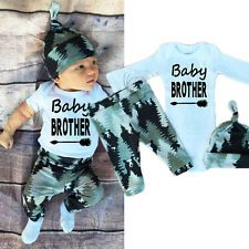 Newborn Baby Boy Girl Long Sleeve Tops +Pants Hat Outfits Set Clothes UK STOCK