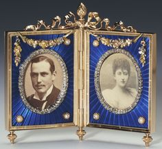 Fabergé double frame of three-colour gold, blue guilloché enamel, half pearls, rose diamonds, and ivory, with photographs of Prince Charles of Denmark and Princess Maud of Wales. Workmaster Viktor Aarne, 1901. Bought by the Dowager Tsarina Marie Feodorovna, 3 January 1901.