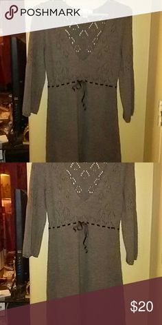 Sweater dress Cute stylish sweater dress above knee ribbon in front Decree Dresses Long Sleeve