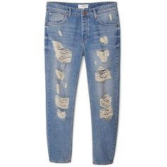 Mango Boyfriend Angie jeans ($53) ❤ liked on Polyvore featuring jeans, blue, women, torn boyfriend jeans, embellish jeans, destructed boyfriend jeans, ripped blue jeans and light wash distressed boyfriend jeans