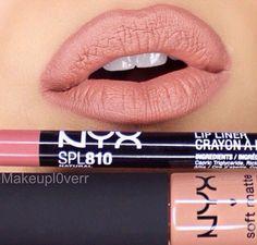 """NYX lip pencil in """"Natural"""" & NYX soft matte lip cream in """"London"""". Nyx Lip Liner, Nyx Lipstick, Winged Liner, Nyx Lip Matte, Nyx Lip Pencil, Nyx Eyeshadow, Satin Lipstick, Matte Lipsticks, Eyeshadow Palette"""