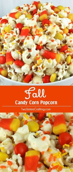Fall Candy Corn Popcorn - a fun Halloween treat. Sweet, salty, crunchy and delicious and it is so easy to make. It would be a great Halloween Party Food or Fall movie night dessert! Pin this Fall Dess (Favorite Desserts Delicious Food)
