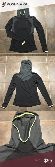 Hooded NIKE pullover. NWOT Black, gray and volt drifit hooded pullover. Never worn, just took the tag off. Size small Nike Sweaters