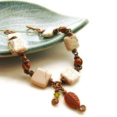 Gemstone Leaf Bracelet Rustic Copper Wire Wrapped with Goldstone and White Magnesite -Autumn Glitter. $45.00, via Etsy.