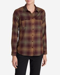 Eddie Bauer Expedition Flannel Shirt Color: Dk Garnet | Eddie Bauer - 100% polyester  | The hollow-core fibers of our FreeHeat polyester create an ultralight, ultrasoft, ultrawarm flannel that's built especially for being active in cooler weather. Roll tabs...