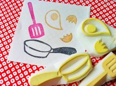 cooking hand carved rubber stamps -  hand carved stamp  - frying pan stamp/egg stamp /turner stamp  - set of 3 - no6. $14,00, via Etsy.