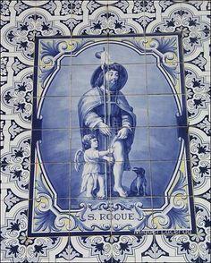 S. Roque Azulejo da Capela da Nossa Senhora das Febres Portuguese Culture, Portuguese Tiles, Portugal, Tile Art, Paint Tiles, Tile Panels, Delft, Byzantine, Blue And White