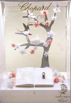 Chopard at Harrods Window Display Featuring Origami Birds by Elemental Design.