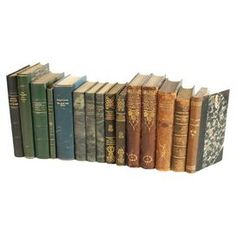 Fifteen vintage leather-bound books. From Scandinavia.
