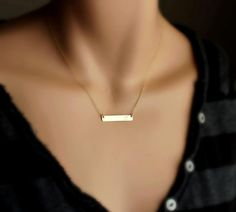 Personalized Gold Bar Necklace; $30 at etsy.com